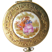 Courting Couple Pastoral Scene Powder Compact or Pill Box 1960s / Wedding Gift / Vanity Item /