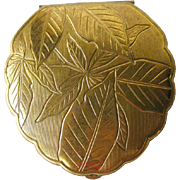 American Beauty Compact Gold Tone Leaf Scalloped / Bridesmaid Gift / Vanity Item / Purse Acces