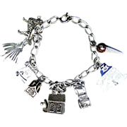 Sterling Charm Bracelet With 8 Charms Including Danecraft Church