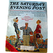 Saturday Evening Post Vintage Magazine October 1976 Norman Rockwell Cover / Football / Joe ...