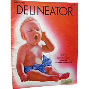 Delineator Vintage Fashion Magazine January 1933 with Baby Cover / Edith Wharton Fiction / ...