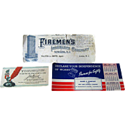 Advertising Blotters / John Hancock / Firemens Insurance / Vintage Desk /Vintage Ephemera / Sc