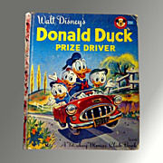 SALE 50% OFF Donald Duck Prize Driver -- Vintage Walt Disney Little Golden Book