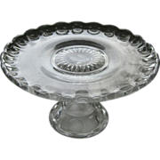 Vintage Pressed Glass Cake Stand / Vintage Kitchenware / Vintage Serving / Cake Plate / Servin