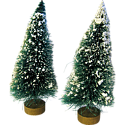 Vintage Flocked Bottle Brush Trees With Gold Base / Christmas Ornament / Collectible Ornament