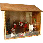 Christmas Shadow Box Diorama With Santa Cottage Scene / Santa Claus / Holiday Decor