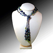 Art Glass Flapper Style Necklace