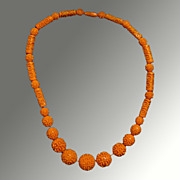 50's Molded Coral Colored Celluloid Necklace
