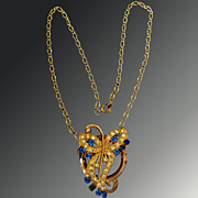Deco Spray Necklace With Blue and White Rhinestones
