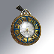 Vintage Lucerne Wind Up Watch Pendant / Blue Enamel With Gold Sunbursts / Swiss Made / Working