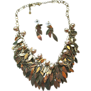 Dangling Bib Necklace and Earring Set / Vintage Jewelry / Jewelry Set / Womens Jewelry