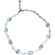 Vintage Faceted Crystal Choker Style Necklace / Wedding Jewelry / Prom Jewelry / Gift For Her