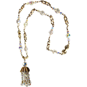 Vendome Crystal Cluster Necklace / Designer Jewelry / Costume Jewelry / Crystal GLAM Necklace