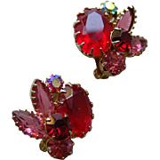 Red Juliana D and E Tiffany Prong Set Clip On Earrings / Vintage Earrings / Costume Jewelry ..