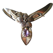 Vintage Sterling Silver Art Nouveau Floral Pin With Amethyst Stone / Floral Brooch