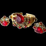 Vintage Red Rhinestone Clamper Bracelet and Clip On Earrings Set / Vintage Earrings / Costume