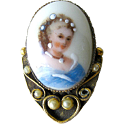 Limgoes French Hand Painted Portrait Pin / Vintage Fashion / Vintage Jewelry / Womans Gift Jew