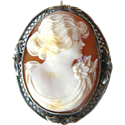 Carnelian Shell Art Nouveau Cameo Brooch and Pendant / 1800s Brooch / Shell Cameo / Vintage Fa