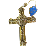 Large Whiting and Davis Pendant Cross / Vintage Fashion Jewelry / Womens Gift / Costume Jewelr