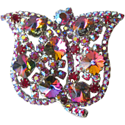 Brilliant Rhinestone Tulip Pin / Vintage Fashion Jewelry / Womens Gift / Costume Jewelry