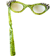 SOLD Vintage Lorgnette Lucite Cat Eye Magnifying Folding Glasses With Glitter and Rhinestones