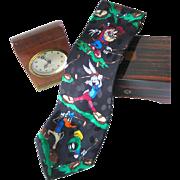 Looney Tunes Mania Golfers Silk Necktie / Mens Fashion / Novelty Tie / Gift For Him