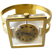 Vintage 1960s Mid Century Mod Le Jour Mechanical 17 Jewelry Watch Bracelet With Lucite Front a