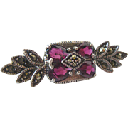 Vintage Amethyst Marcasite and Sterling Silver Pin Marked JC / Vintage Jewelry / E state Jewel