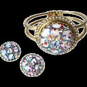 Vintage Lucite Confetti Clamper Bracelet and Earring Set / Vintage Jewelry / 1950s Bracelet /