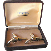 Silver Guns with Mother of Pearl Grips Cuff Links Boxed Set / Gift for Him / 1950s Mens Fashio