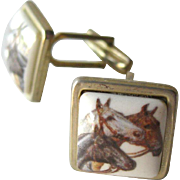 Horse Cufflinks Hand Painted Porcelain / Cuff Links / Mens Fashion / Mens Gift