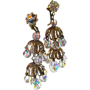 Layered Crystal Chandelier Earrings Extra Long / Shoulder Duster Earrings / Vintage Costume Je