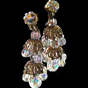 Layered Crystal Chandelier Earrings Extra Long / Shoulder Duster Earrings / Vintage Costume Je