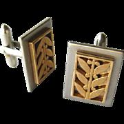 SALE PENDING Swank Mid Century Cufflinks Marked SO Gold and Silver Leaf Design / Mod Cufflinks