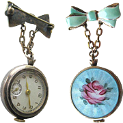 Guilloche Enameled Rose Watch Pin In Working Condition /Essex Watch Company / Wind Up Womans .
