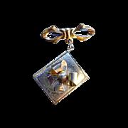 Gold-Toned Locket Bow Brooch