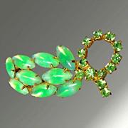 Striking Green Opalescent & Rhinestone Cluster Brooch