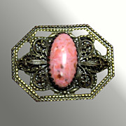 Sash Pin With Coral Colored Stone