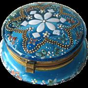 Antique Patch Box Aqua Blue Glass Enamel / Vintage Vanity