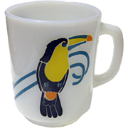 Very Rare Anchor Hocking Toucan Bird Coffee Mug / Vintage Kitchenware / Bird Cup / Milk Glass