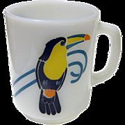 Very Rare Anchor Hocking Toucan Bird Coffee Mug / Vintage Kitchenware / Bird Cup / Milk Glass