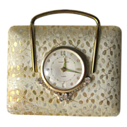 Vintage Phinney Walker Rhinestone Accented Alarm Clock in Jewelry Box - Germany