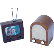 Miniature Dollhouse Television and Radio / Cast Metal Miniature TV / Wooden Old Fashioned Radi
