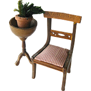 Upholstered Chair With Plant Stand and Potted Plant Vintage Doll Miniature / Dollhouse Doll Fu