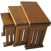 Mission Style Nesting Wooden Tables Vintage Doll Miniatures / Dollhouse Doll Furniture / Minia