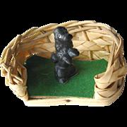 Vintage Miniature Dollhouse Dog Basket and Poodle / Dollhouse Furniture / Miniature Furniture