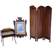 Dollhouse Early American Desk Mirror and Screen / Doll House Furniture / Miniature Wood Furnit