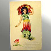Gibson Lines Flower Girl Post Card - Birthday Greeting