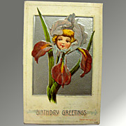 Birthday Greeting Flower Child Silver Post Card