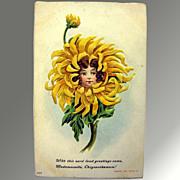 Flower Child Embossed Vintage Postcard - 1908